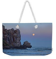 Snow Moon And Morro Rock Weekender Tote Bag
