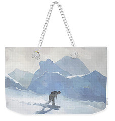 Weekender Tote Bag featuring the painting Snowboarding At Les Arcs by Steve Mitchell