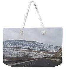 Snowy Mountain Road Weekender Tote Bag