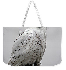 Weekender Tote Bag featuring the photograph Snowy Owl In Fog by Rick Veldman