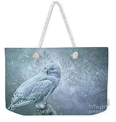 Snowy Owl In Winter Weekender Tote Bag