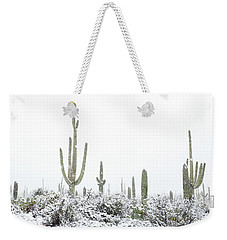 Snowy Saguaro Cactus Weekender Tote Bag