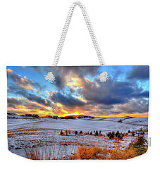 Weekender Tote Bag featuring the photograph Snowy Sunset by David Patterson