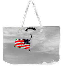 Weekender Tote Bag featuring the photograph Socom Flag Jump In Selective Color by Doug Camara