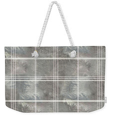 Soft Textured Cream And Blue Plaid Weekender Tote Bag
