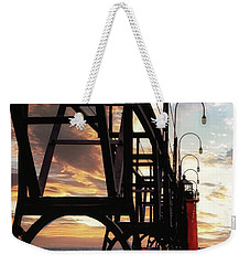 Weekender Tote Bag featuring the photograph South Haven Pier Sunset by Lars Lentz