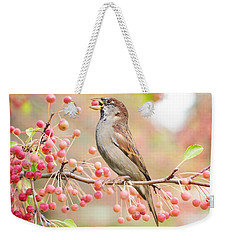 Weekender Tote Bag featuring the photograph Sparrow Eating Berries by Top Wallpapers