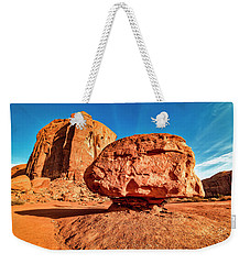 Weekender Tote Bag featuring the photograph Spearhead Mesa's Balancing Rock by Andy Crawford