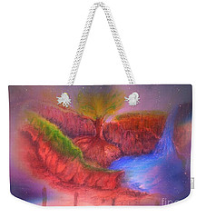 Weekender Tote Bag featuring the mixed media Spec In The Galaxy by Sabine ShintaraRose