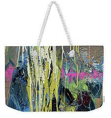 Weekender Tote Bag featuring the painting Splash Stripe by John Jr Gholson