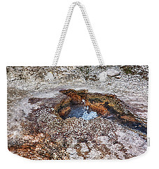 Weekender Tote Bag featuring the photograph Splashing Hot Water Drops In Yellowstone by Tatiana Travelways
