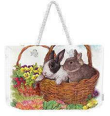 Spring Garden With Bunnies, Butterfly Weekender Tote Bag