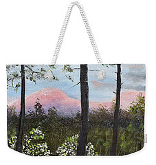 Weekender Tote Bag featuring the painting Springtime At Pink Knob In Ellijay by Jan Dappen