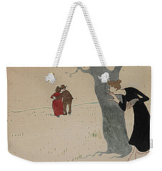 Weekender Tote Bag featuring the drawing Spying On Love Couples by Ivar Arosenius