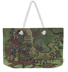 Weekender Tote Bag featuring the drawing St. Goran And The Dragon by Ivar Arosenius