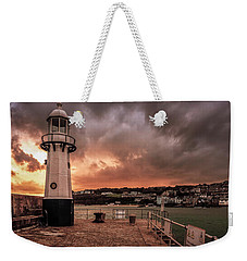 St Ives Cornwall - Lighthouse Sunset Weekender Tote Bag