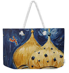 Weekender Tote Bag featuring the painting Stars Near And Far by Maria Langgle