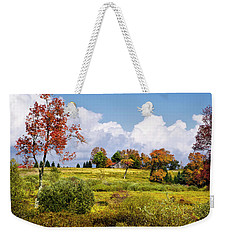 Weekender Tote Bag featuring the photograph Storm Clouds Over Country Landscape by Christina Rollo