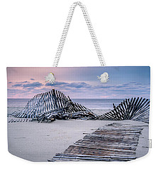 Weekender Tote Bag featuring the photograph Storm Fence Sunrise by Steve Stanger