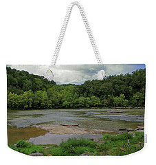 Weekender Tote Bag featuring the photograph Stormy Evening At The River by Angela Murdock