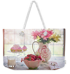 Weekender Tote Bag featuring the photograph Strawberry Breakfast by Top Wallpapers