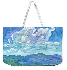 Weekender Tote Bag featuring the painting Summer Clouds Landscape  by Dobrotsvet Art