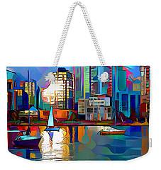 Weekender Tote Bag featuring the digital art Summer In The City by Pennie McCracken
