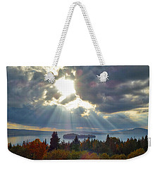 Sun Rays Over Rangeley Lake Weekender Tote Bag