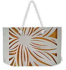 Weekender Tote Bag featuring the mixed media Sunburst Petals by Phyllis Howard