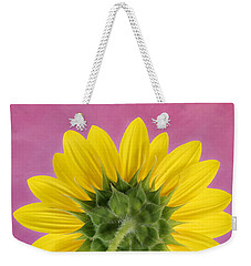 Weekender Tote Bag featuring the photograph Sunflower On Pink - Botanical Art By Debi Dalio by Debi Dalio