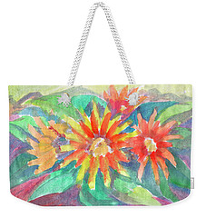 Weekender Tote Bag featuring the painting Sunflowers by Dobrotsvet Art