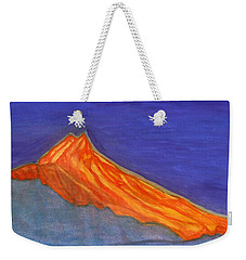Weekender Tote Bag featuring the painting Sunny Mountain Peak by Dobrotsvet Art