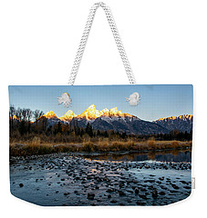 Weekender Tote Bag featuring the photograph Sunrise At Schwabacher Landing by Scott Read