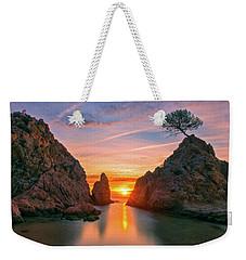 Sunrise In The Village Of Tossa De Mar, Costa Brava Weekender Tote Bag