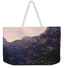 Weekender Tote Bag featuring the photograph Sunset In The Anisclo Valley by Stephen Taylor