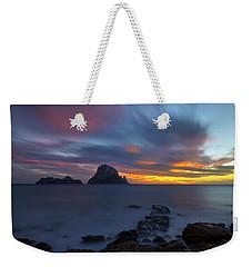 Sunset In The Mediterranean Sea With The Island Of Es Vedra Weekender Tote Bag