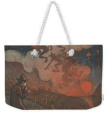 Weekender Tote Bag featuring the drawing Sunset by Ivar Arosenius