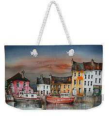 Weekender Tote Bag featuring the painting Sunset On  Cloondra, Co. Longford by Val Byrne