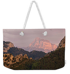 Weekender Tote Bag featuring the photograph Sunset On Pena Montanesa by Stephen Taylor
