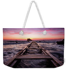 Sunset Shining Over A Wooden Pier In Livorno, Tuscany Weekender Tote Bag