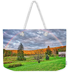 Weekender Tote Bag featuring the photograph Sunset Storm Rainbow - Upstate New York by Lynn Bauer