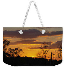 Sunset With Electricity Pylon Weekender Tote Bag