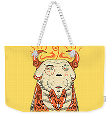 Weekender Tote Bag featuring the drawing Surreal Cat by Sotuland Art