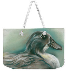 Weekender Tote Bag featuring the pastel Swedish Blue Duck by MM Anderson