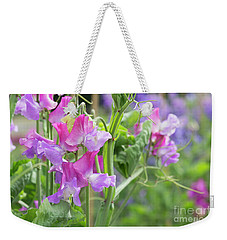 Weekender Tote Bag featuring the photograph Sweet Pea Prima Ballerina Flowers by Tim Gainey