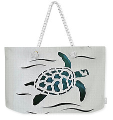 Weekender Tote Bag featuring the mixed media Swimmer by Phyllis Howard