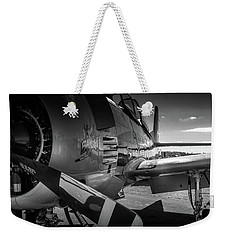 Weekender Tote Bag featuring the photograph T-28b Trojan In Bw by Doug Camara