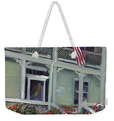 Weekender Tote Bag featuring the painting Tabor House - Historical Home Of Ellijay by Jan Dappen