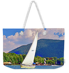 Tacking Lighthouse Sailor, Smith Mountain Lake Weekender Tote Bag