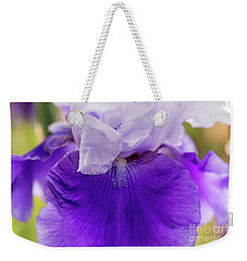 Weekender Tote Bag featuring the photograph Tall Bearded Iris Atlantic Sky  by Tim Gainey
